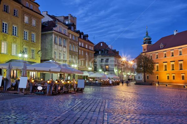 Città Varsavia sera storico case castello Foto d'archivio © rognar