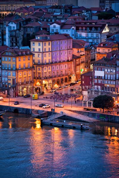 Stockfoto: Oude · stad · avond · Portugal · historisch · centrum