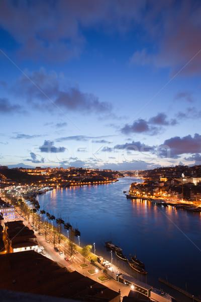 Stockfoto: Avond · rivier · Portugal · steden · reizen