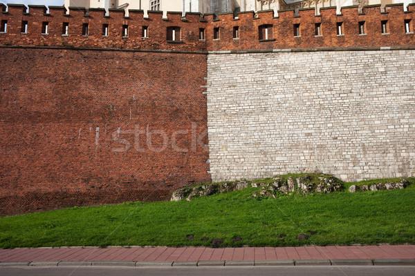 Medieval castillo pared piedra ladrillo mitad Foto stock © rognar