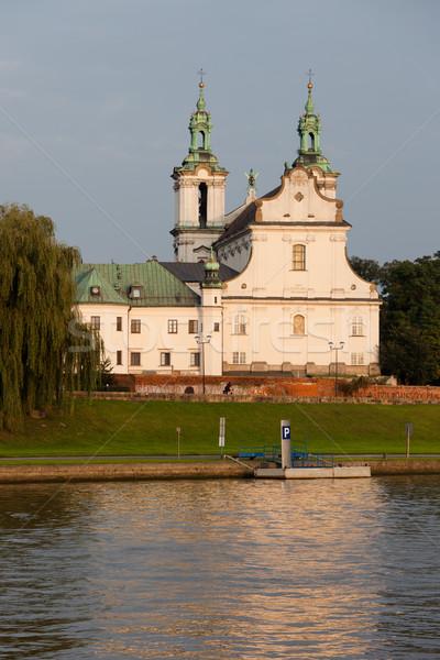Templom kő Krakkó Lengyelország folyó első Stock fotó © rognar