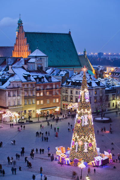 Old Town Square at Night in Warsaw Stock photo © rognar