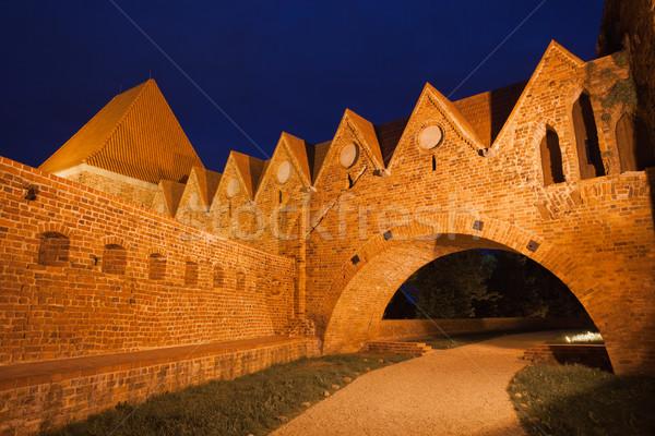 Teutonic Knights Castle at Night in Torun Stock photo © rognar