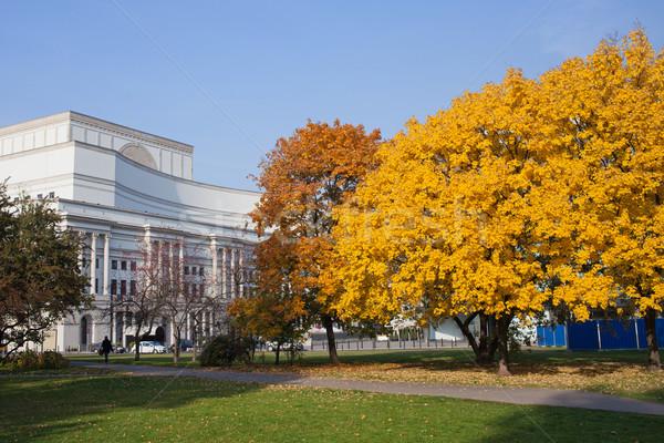Autunno giardino Varsavia teatro costruzione Polonia Foto d'archivio © rognar