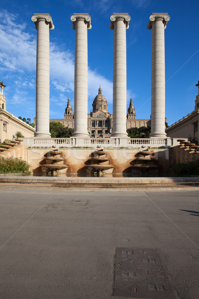 Ionic Columns and National Art Museum of Catalonia Stock photo © rognar