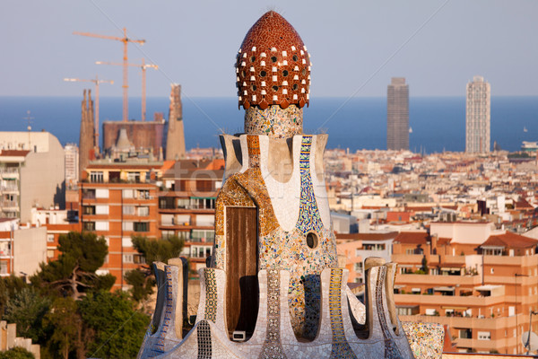 Top of the Casa del Guarda in Park Guell Stock photo © rognar