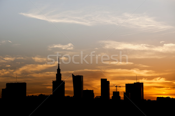 Warsaw City Silhouette at Sunset in Poland Stock photo © rognar