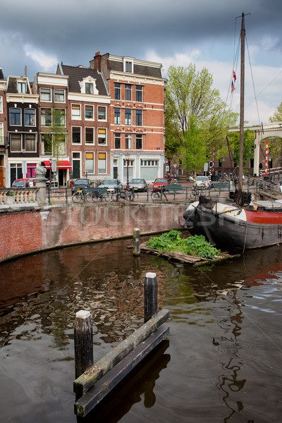Amstel River Waterfront in Amsterdam Stock photo © rognar