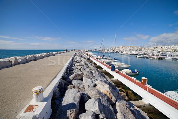 ストックフォト: マリーナ · 桟橋 · スペイン · 海 · 建物 · 船