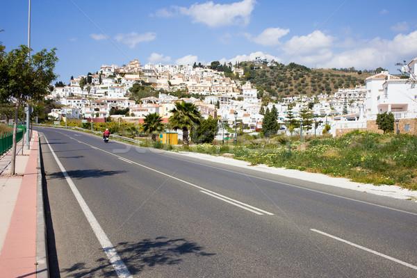 Fehér falu domb utca üdülőhely város Stock fotó © rognar