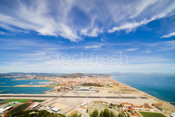 Gibraltar luchthaven landingsbaan la stad Spanje Stockfoto © rognar