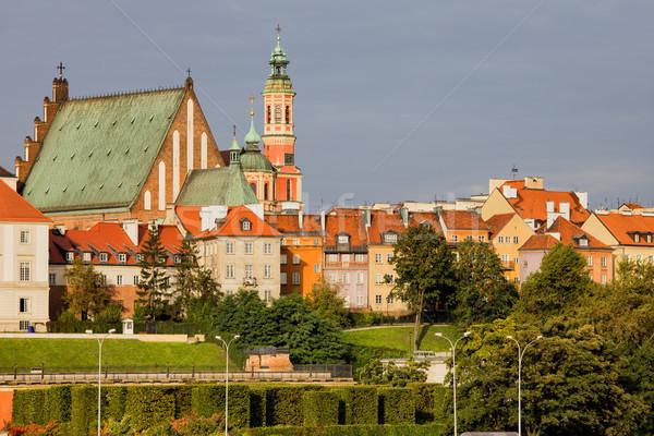 Stock fotó: óváros · Varsó · sziluett · Lengyelország · város · otthon