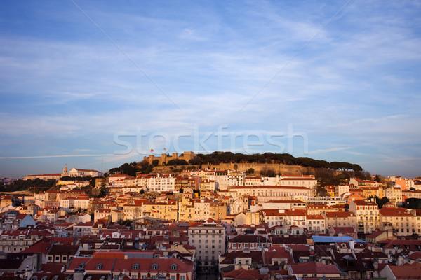 Città Lisbona tramonto Portogallo bella Foto d'archivio © rognar