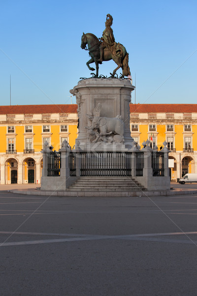 Statue of King Jose I in Lisbon at Sunrise Stock photo © rognar