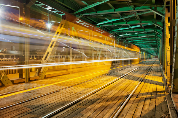 Steel Truss Bridge with Tram Light Trail Stock photo © rognar