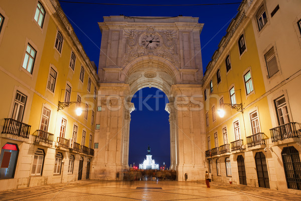 Rua Augusta Arch at Night in Lisbon Stock photo © rognar