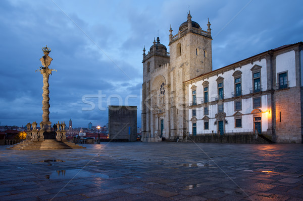 Porto Cathedral and Pillory Column in Portugal Stock photo © rognar
