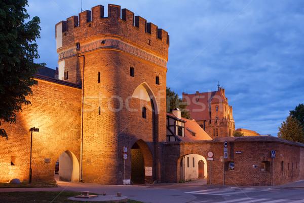 Médiévale pont porte ville mur Pologne Photo stock © rognar