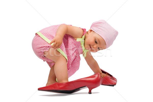 Sevimli bayan moda komik çok güzel Stok fotoğraf © rognar