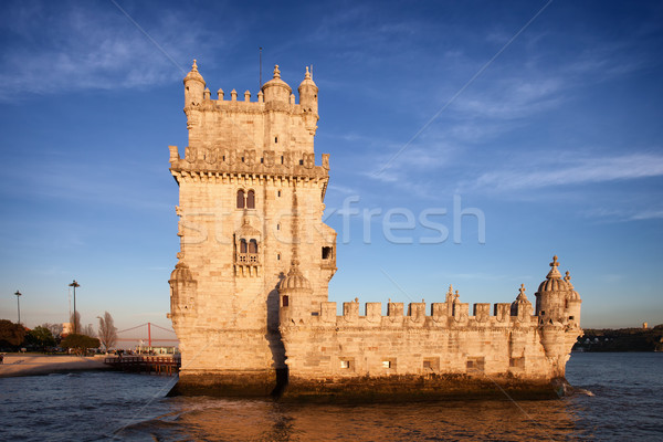 Belem Tower in Lisbon at Sunset Stock photo © rognar