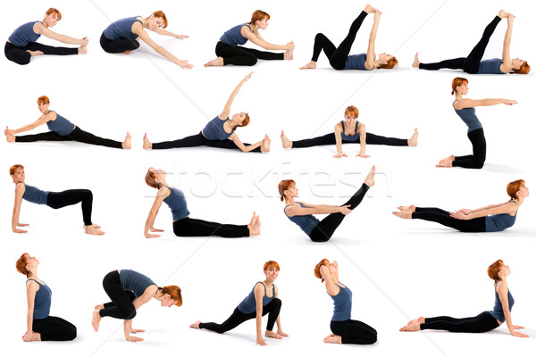 Woman in Various Sitting Yoga Poses Stock photo © rognar