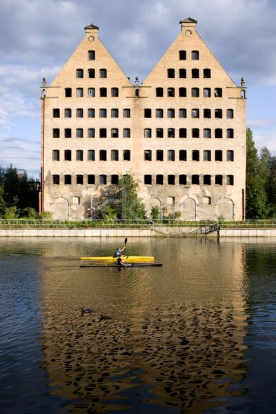 Vecchio danzica costruzione fiume acqua città Foto d'archivio © rognar