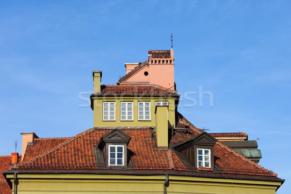 Huis vliering historisch buitenkant oude binnenstad Warschau Stockfoto © rognar