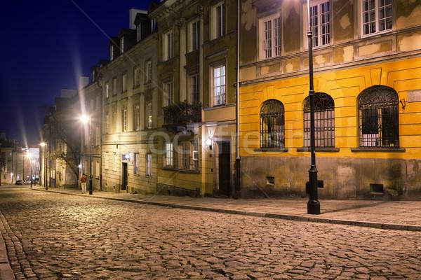 Strada Varsavia notte nuovo città vecchio Foto d'archivio © rognar