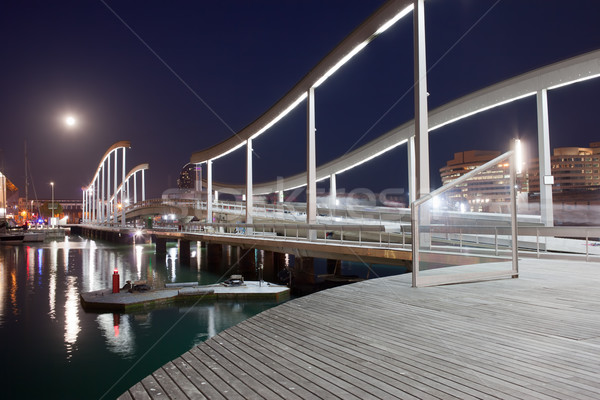 Barcelona gece ahşap liman dolunay şehir Stok fotoğraf © rognar