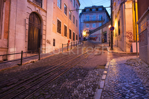 Calcada da Gloria Street at Dusk in Lisbon Stock photo © rognar