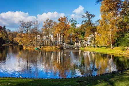 Najaar stad park Warschau pittoreske landschap Stockfoto © rognar