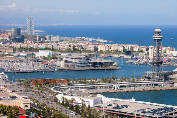 Port Vell in Barcelona from Above Stock photo © rognar