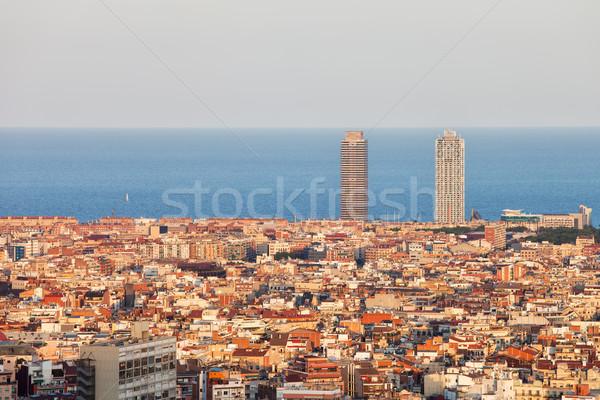 Барселона Cityscape закат город Испания горизонте Сток-фото © rognar