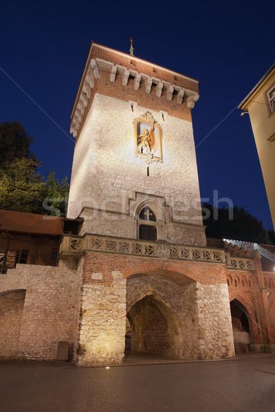 Kapı gece krakow Polonya Gotik Stok fotoğraf © rognar
