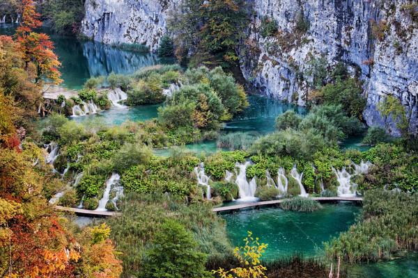 Park tájkép Horvátország hegy vízesés hegyek Stock fotó © rognar