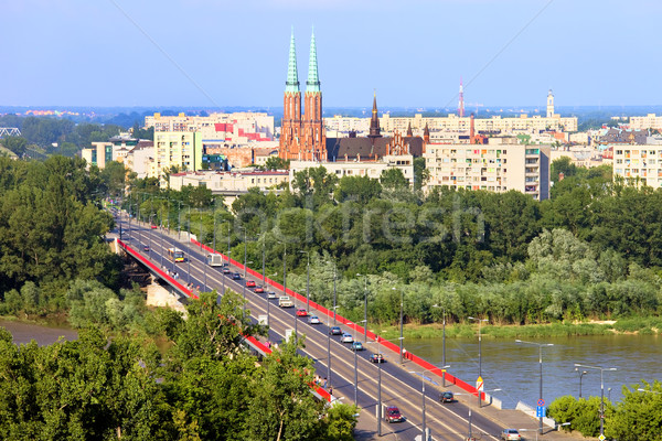Варшава Cityscape Польша моста район за Сток-фото © rognar