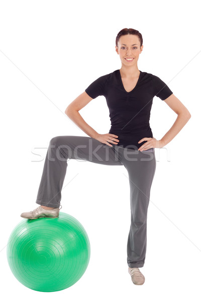 Stock photo: Friendly Woman Fitness with Gym Ball