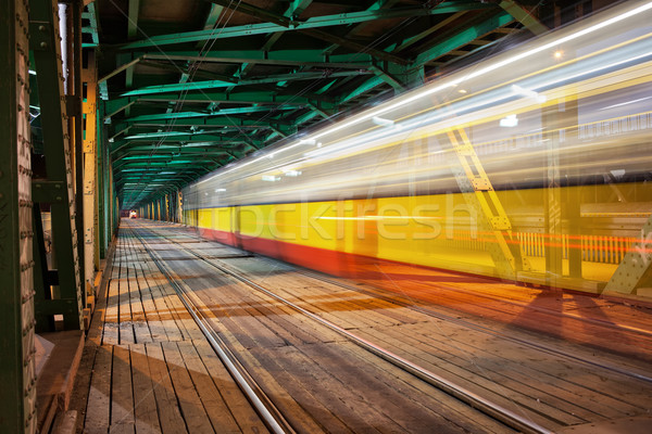 Tram Light Trail at Bridge in Warsaw Stock photo © rognar