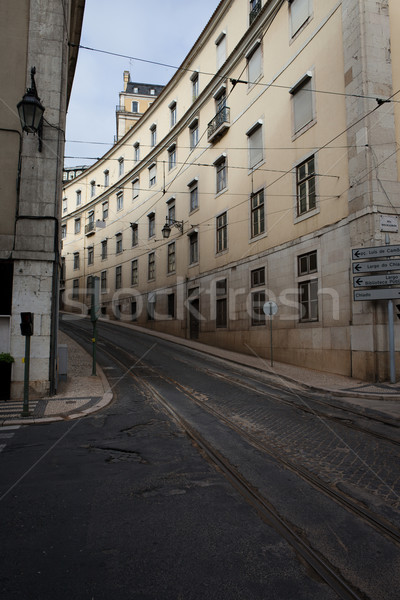 Street with Tramline in Lisbon Stock photo © rognar