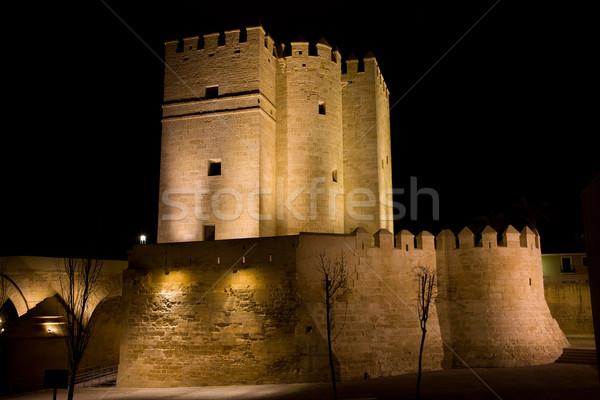 Tour nuit fortification Espagne bâtiment Photo stock © rognar