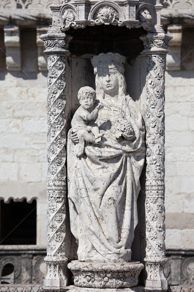 Statue of St. Mary and Child at Belem tower in Portugal Stock photo © rognar