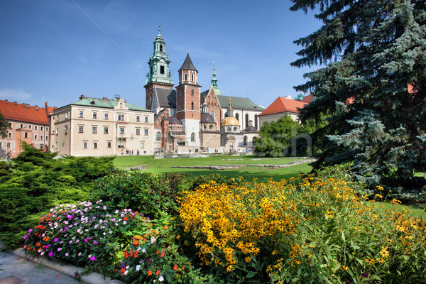 Katedrális királyi kert Krakkó Lengyelország kastély Stock fotó © rognar