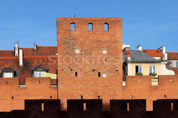 Varsavia città vecchia muro torre muro di mattoni Polonia Foto d'archivio © rognar