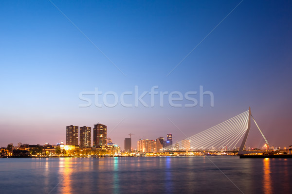 Erasmus Bridge in Rotterdam at Dusk Stock photo © rognar