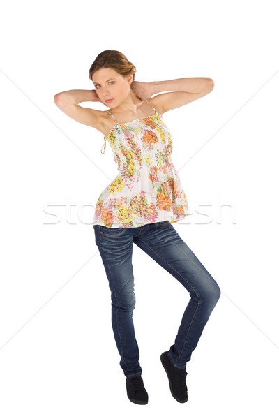 Casual Woman Hands on Neck Pose Stock photo © rognar