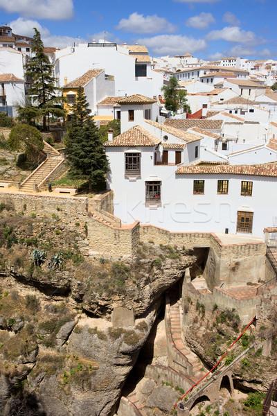 町 アンダルシア 中世 住宅 高い 岩 ストックフォト © rognar
