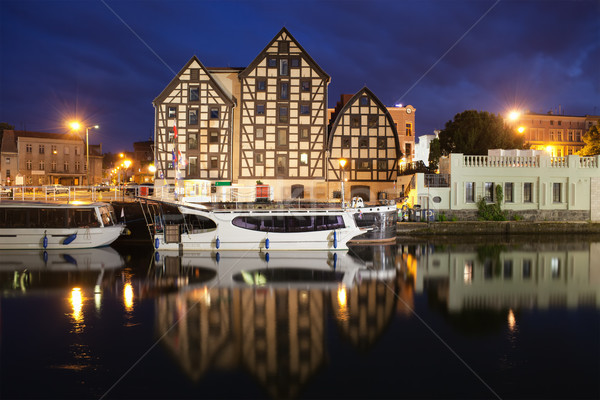 Old Granaries in City of Bydgoszcz by Night Stock photo © rognar