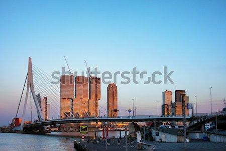 Rotterdam şehir merkezinde ufuk çizgisi gün batımı görmek köprü Stok fotoğraf © rognar