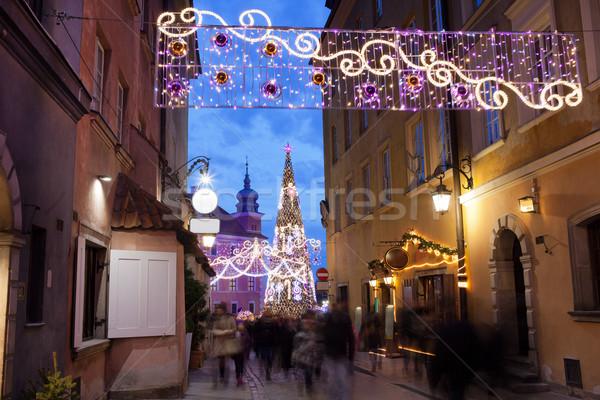 Christmas verlichting straat Warschau decoraties oude binnenstad Stockfoto © rognar
