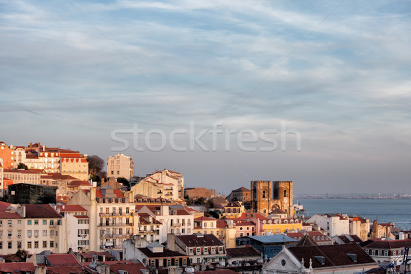 View Over City of Lisbon at Sunset Stock photo © rognar